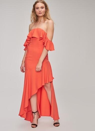 People By Fabrika Straplez Volan Detaylı Elbise Mercan